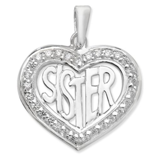 Sterling Silver Cubic Zirconia Sister Heart Pendant On A Snake Necklace