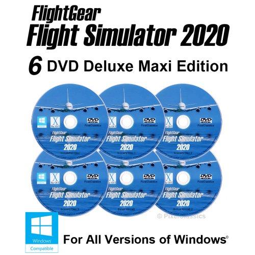 Flight Simulator 2020 X DELUXE Edition Flight Sim FlightGear 6 Disc DVD CD Set For Microsoft Windows 10 8 7 Vista PC / 600+ Aircraft & Full Scenery!