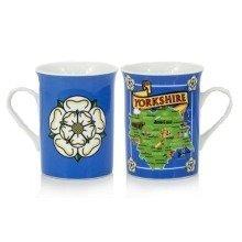 Yorkshire Map White Rose Mug Cup Souvenir Gift Ridings Whitby Abbey Dales York