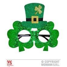 St Patrick's Day Glasses With Mini Top Hat Fancy Dress - Patricks Glitter -  day hat st patricks glitter shamrock glasses top irish mini green