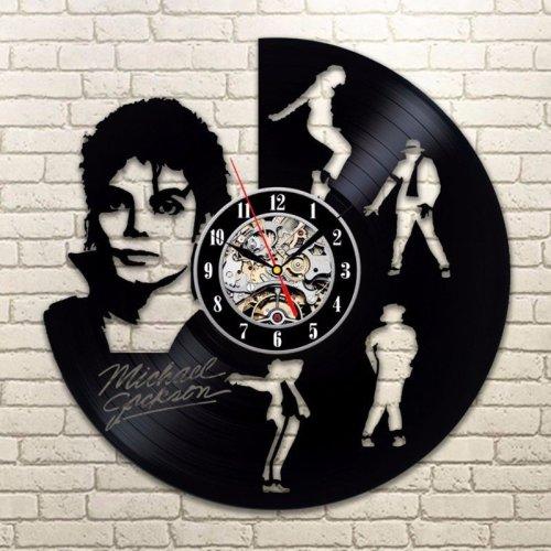 Dancing Michael Jackson Design Vinyl Record Led Light Wall Clock