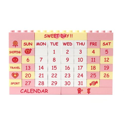 Big Creative Building Block Puzzle Calendar Perpetual Calendar Pink