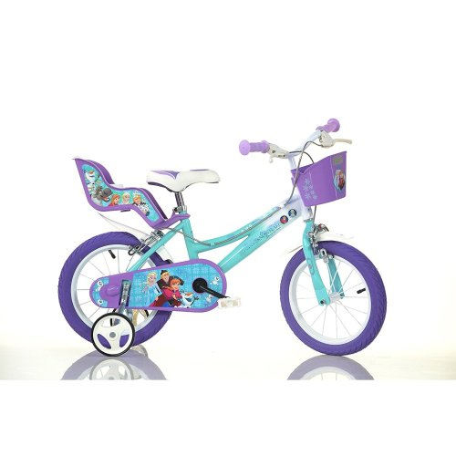 "Dino Disney Frozen Kids Girls Bike with Stabilisers - 14"" Wheels"
