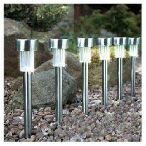 BRAND NEW RECHARGEABLE 10 X STAINLESS STEEL SOLAR POWERED LIGHTS GARDEN LANTERNS