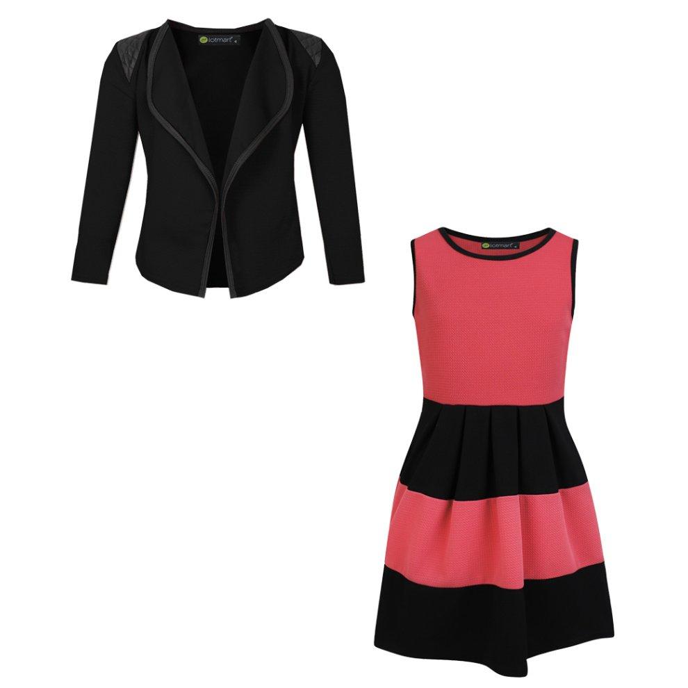 1112 Years Coral and Black Girls Skater Dress Bundle with Blazer Jacket