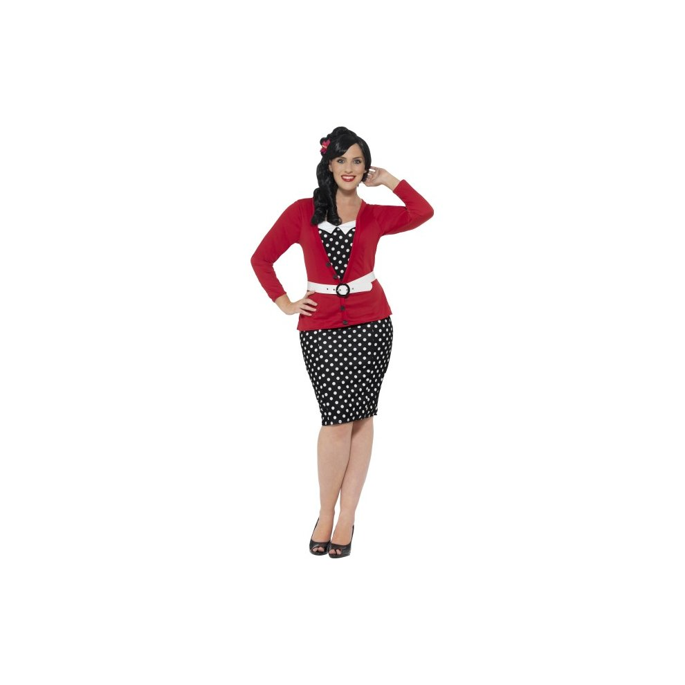 6267e8e055f6 Smiffy's Women's 1950's Pin-up Costume, Dress, Mock Cardigan, Belt And - 50s  costume dress pin up fancy curves 1950s ladies plus size outfit adult on  OnBuy