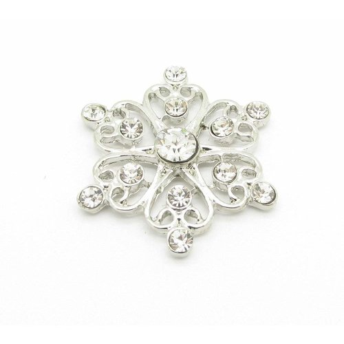 10 x Filigree Flower Rhinestone Crystal Diamante Embellishment Great For Cards Scrapbooking & Weddings