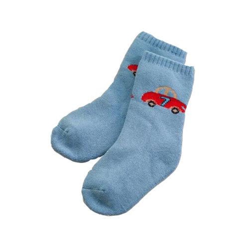 Set of 2 Newborn Thick Warm Cotton Socks For 0-24 Months Baby Deep Blur Car
