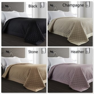 Quilted Reversible Bedspread In 4 Colours