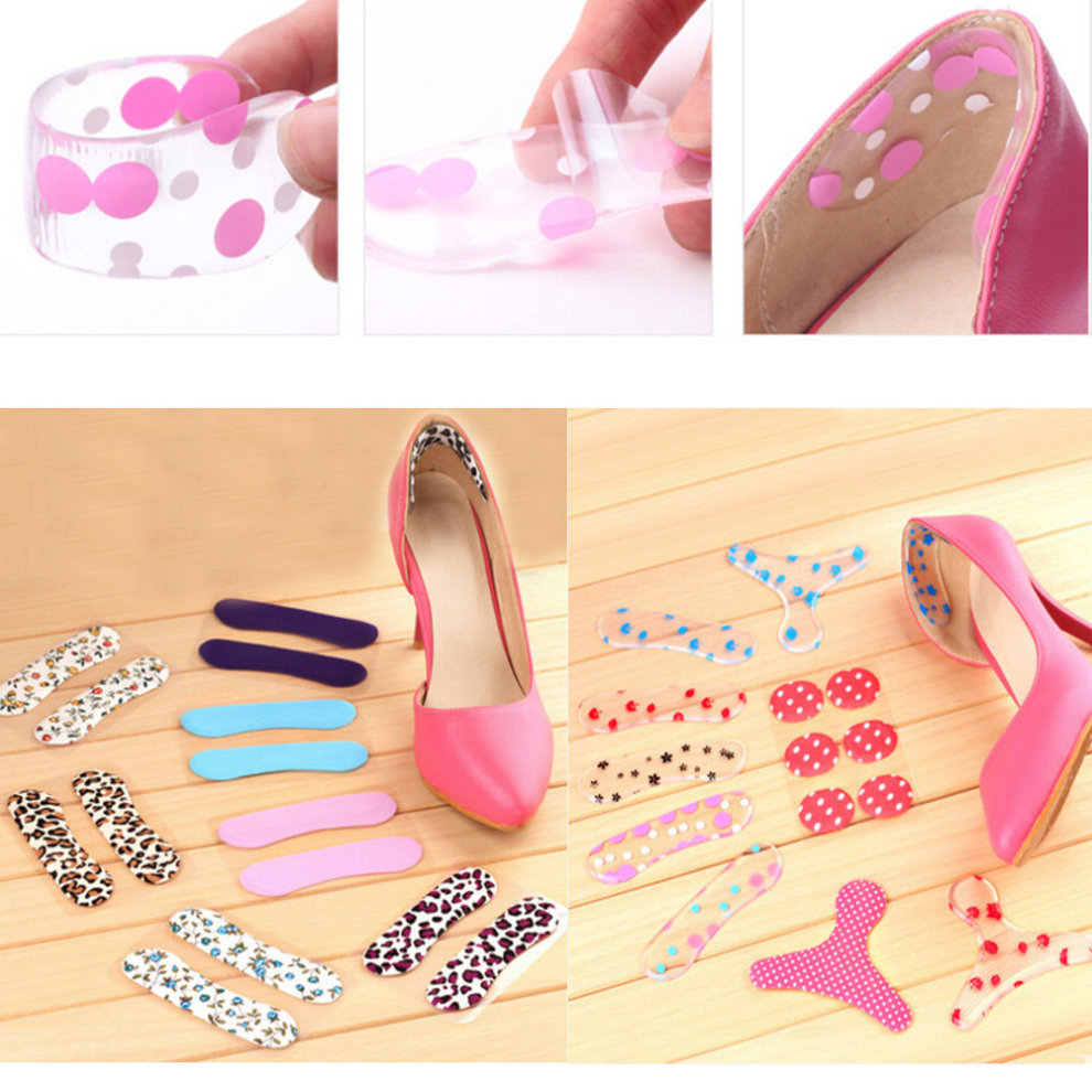 4 Pairs Silicone Heel Cushions Padded Heel Liners Arch Support Pink