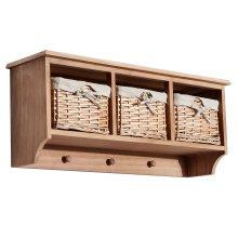 Homcom Entryway Coat Rack Wall Mounted Shelf w/ Wicker Basket (3 Baskets, Light brown)
