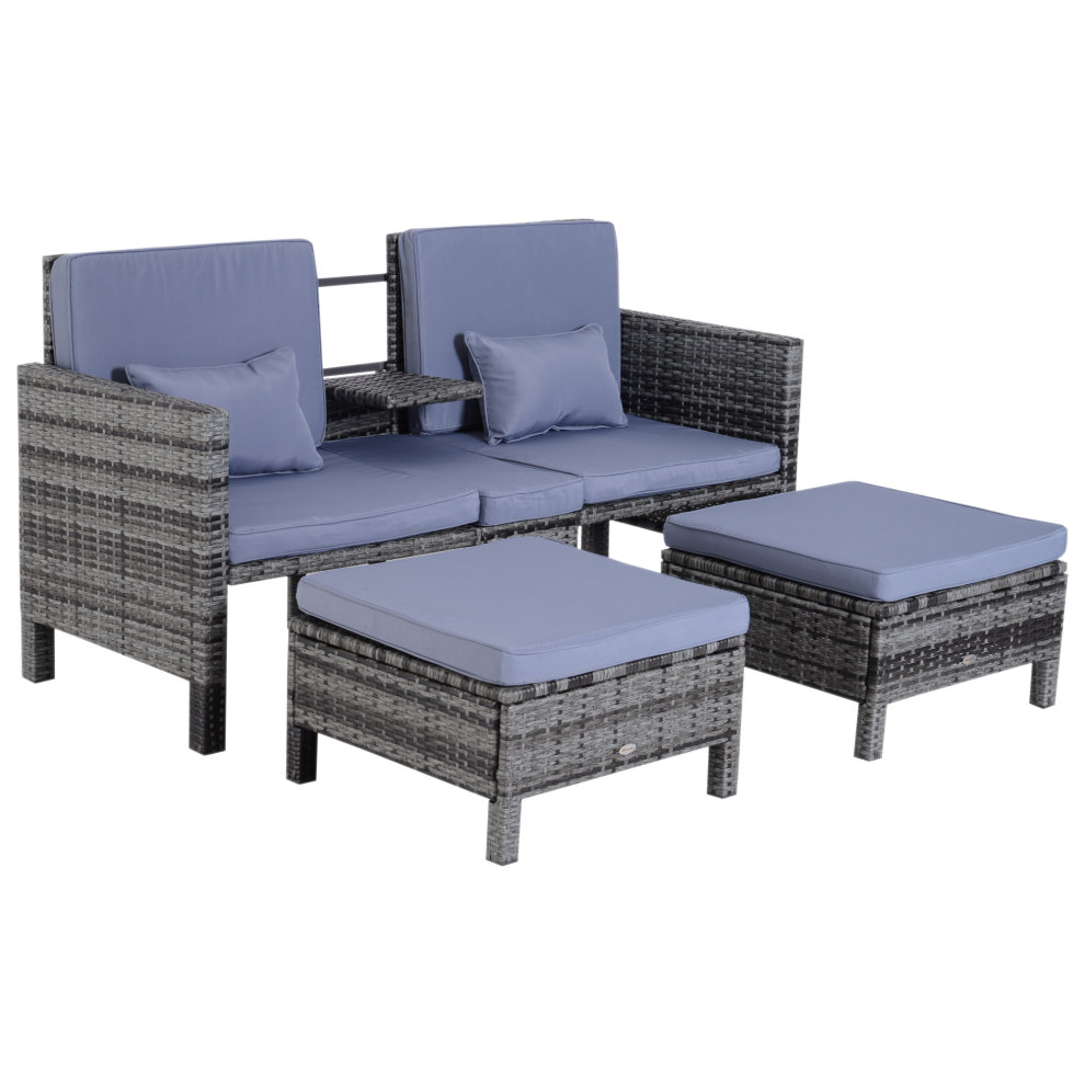 Outsunny 3pcs patio rattan companion sofa garden furniture set with footstool grey on onbuy