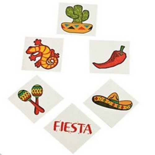 Pack of 12 - Fiesta Temporary Tattoos - Party Bag Fillers