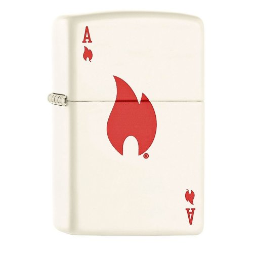 Ace and Flame White Matte Zippo Lighter