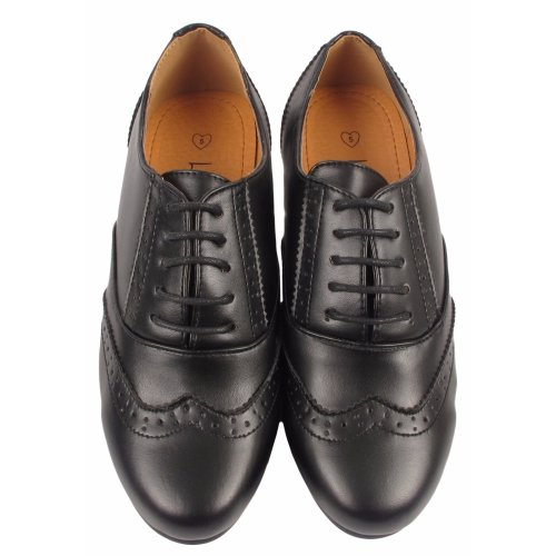 Ladies Lace Up Brogue Smart Office Work Shoes