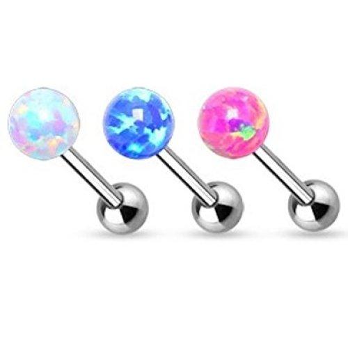 Opal Ball Top Internally Threaded Tongue Bar Piercing