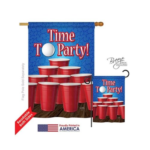 Breeze Decor 17032 Time to Party 2-Sided Vertical Impression House Flag - 28 x 40 in.
