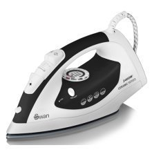 Swan Ceramic Sole Plate Iron 2400W Self Cleaning - Black/White (SI3030BLKN)