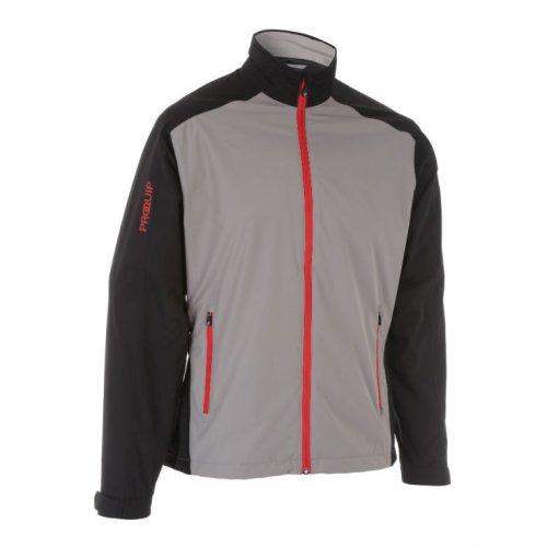 ProQuip Golf Mens Aquastorm PX1 Waterproof Rain Jacket Full Zip Black/Grey 2X-Large