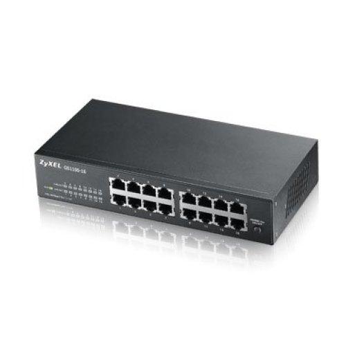 ZyXEL GS1100-16 Unmanaged Gigabit Ethernet (10/100/1000) Black