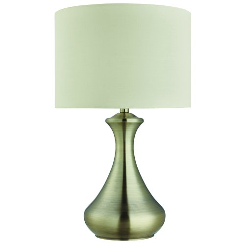 Touch Lamp In Antique Brass Featuring Cream Shade