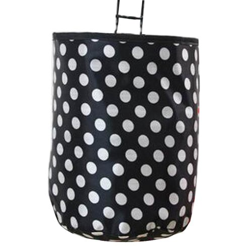 [Polka Dot] Waterproof Canvas Bicycle Basket Foldable Basket for Bike
