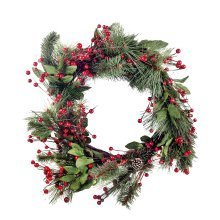 Large Artificial Red Berry & Fir Tree Branch Christmas Wreath