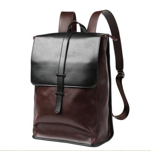 Large capacity Travel Laptop Backpack mochila Men\'s Leather Backpack Schoolbag Vintage Coffee Leather Backpack  men