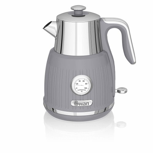 GREY Retro Kettle with Temperature Dial, 3000 W, 1.5L
