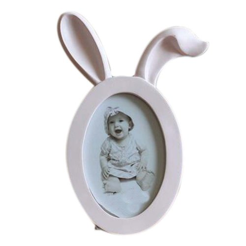 6-inch Photo Frame Rabbit Ears Shape Lovely Photoframe and Home Decoration, Pink