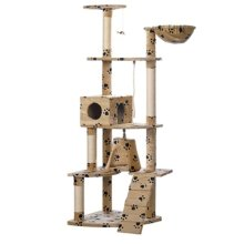 Cat Play Tree 191 cm Beige with Paw Prints