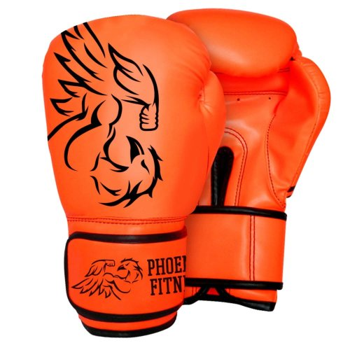 Boxing Gloves -  phoenix fitness black padded boxing sparring punch bag training gloves