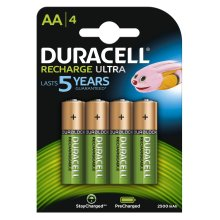 Duracell Ultra AA Rechargeable NiMH 2500mAh PreCharged HR6 Duralock