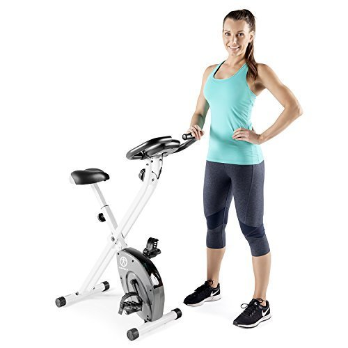 Marcy Foldable Exercise Bike with Adjustable Resistance for Cardio Workout and Strength Training NS 652