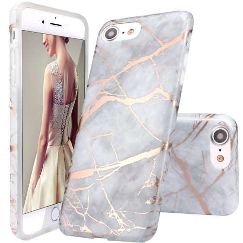 quality design f7e53 97bd1 iPhone 5 Case,iPhone 5S SE Case,DOUJIAZ Gray Rose Gold Marble Design Clear  Bumper TPU Soft Case Rubber Silicone Skin Cover for Apple iPhone 5/5S/SE