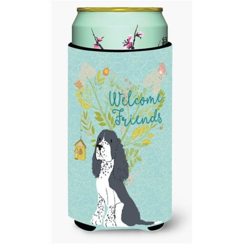 Carolines Treasures BB7621TBC Welcome Friends Black Springer Spaniel Tall Boy Beverage Insulator Hugger