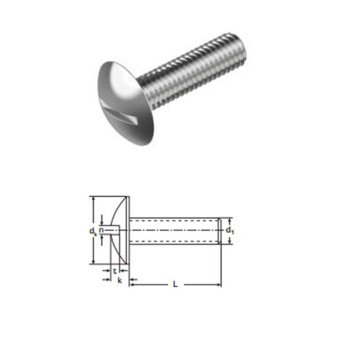 Mushroom Head Slotted Screws M5 x 40 mm A2 (T304) Stainless Steel