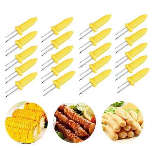 Corn on the Cob Holders Set for Skewers BBQ Twin Prong Sweetcorn Holder Fork Kitchen Tool -20 pcs