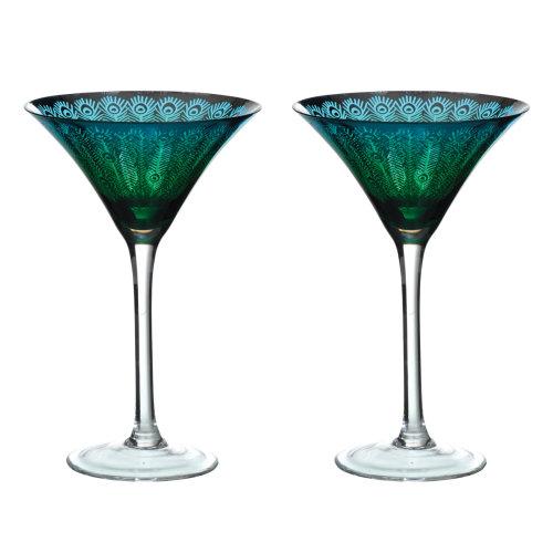 Artland Set of 2 Peacock Martini Glasses