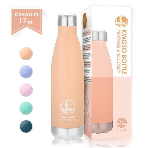 KINGSO Vacuum Insulated Water Bottles Stainless Steel Leak proof Drink Flask for School, Sports, Office (Pink Orange, 500ml)