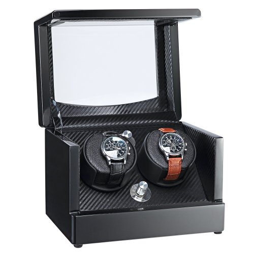 AUBLAN Wooden Double Automatic Watch Winder Storage Boxes for 2 Watches with Led Light