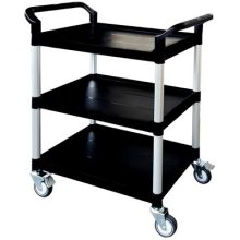 T Equip PSC 130 Plastic Trolley with 3 Shelves, L x w x h: 850 mm x 480 mm x 1000 mm Max. Load 250 kg, Black