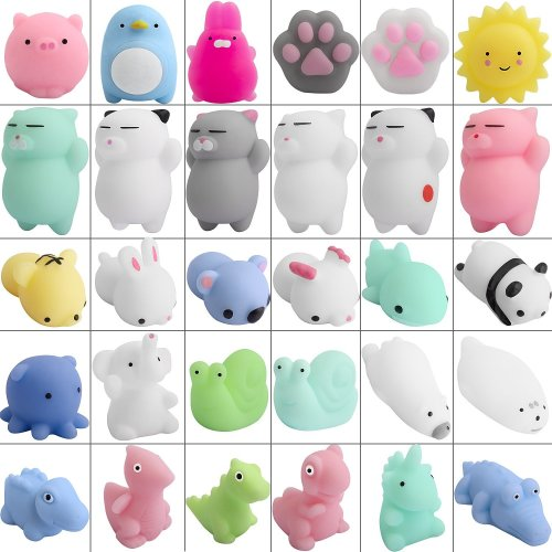 Defrsk Mini Toys for Mochi Squishy - 30 Pcs Soft Mini Cat for Kawaii Animal Squishies - Toys for Stress Relief