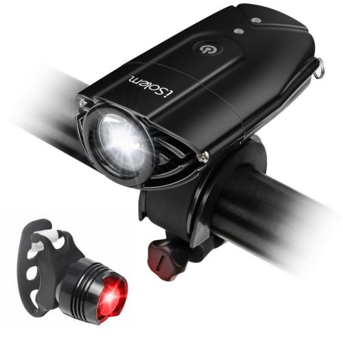 [Touch Sensor Switch] Bike Light, iSolem Rechargeble Super Bright Waterproof Cycling Front Headlight, Red Taillight [Battery Powered], 3 Light Models