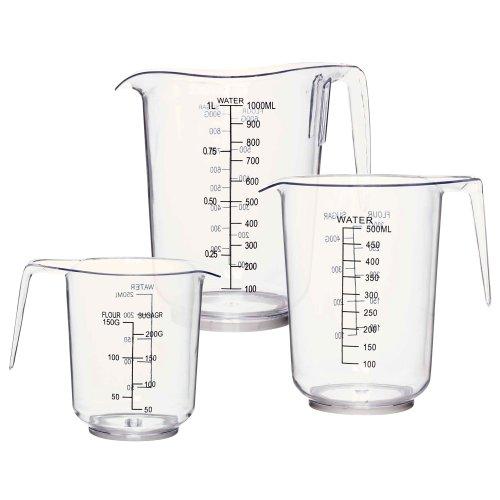 3 Sizes Measuring Jug Clear Plastic Baking Kitchen Set Flour Sugar
