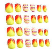 24 Pcs Fashion Nails Stickers Beautiful Nail Decorations False Nails Tips [F]