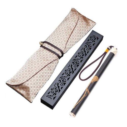 Wooden Incense Burner Box Ebony Wood Incense Stick Burner with Incense Tube, 17