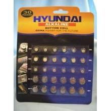 Pack Of 30 Assorted Size Button Cell Batteries, Hyundai Alkaline Range, 099/029 -  30 cell batteries assorted button watch ag1 4 10 13 lr41 lr44