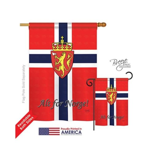 Breeze Decor 08092 Norway 2-Sided Vertical Impression House Flag - 28 x 40 in.