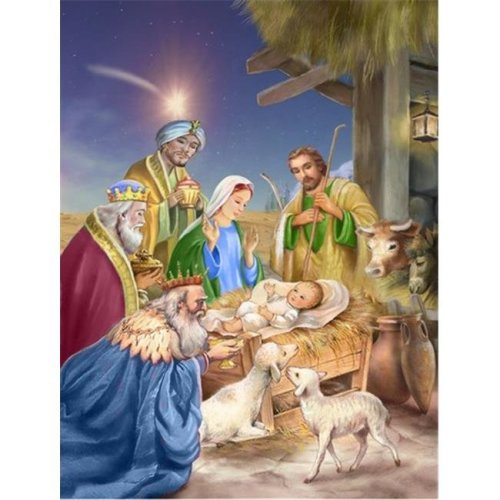Carolines Treasures APH6897CHF Christmas Nativity with Wise Men Flag Canvas House Size